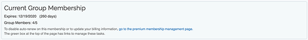 Premium Group Membership - Group Details