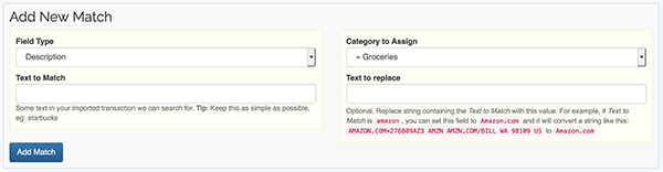 Auto-categorized Imported Transactions - Add Match form