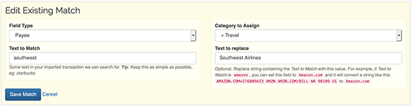 Auto-categorized Imported Transactions - Edit an Existing Match
