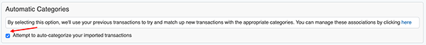 Auto-categorized Imported Transactions - Enable / Disable Auto-categorization matching