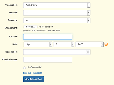 Transaction Form Order - Sample with changed field order