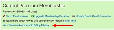 Premium Membership - Billing History