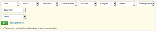 Rearrange Transaction Columns - Form to select field positions