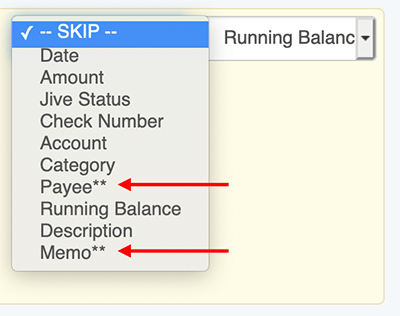 Rearrange Transaction Columns - Letting you know the fields will not be shown