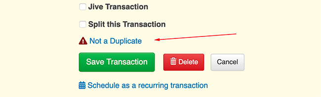 Synced Transaction Settings - Remove Duplicate Transaction Flag