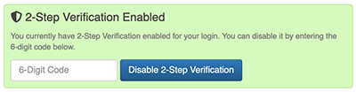 2 Factor Authentication Settings - Disable 2FA