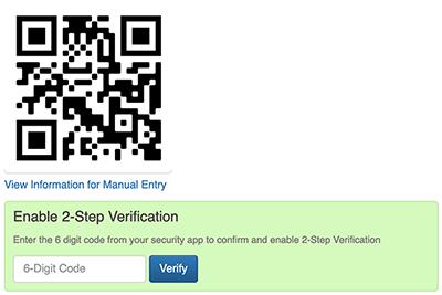 2 Factor Authentication Settings - Enable 2FA