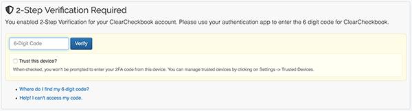 2 Factor Authentication Settings - Enter 2FA code