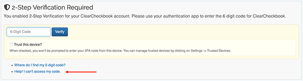 2 Factor Authentication Settings - Recovery process step 1