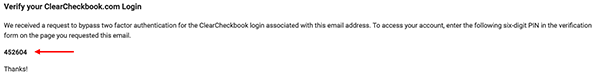 2 Factor Authentication Settings - Recovery email example