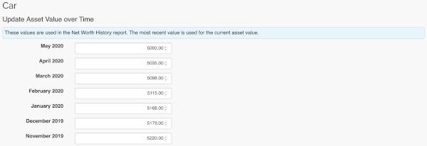Asset Management - Edit asset value form