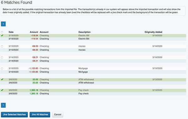 Auto-Jive Tool - Matched Transaction Results