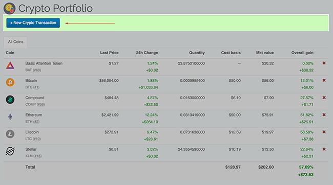 Crypto Portfolio - Add New Transaction button
