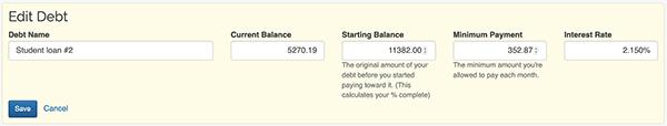 Debt Snowball - Edit form
