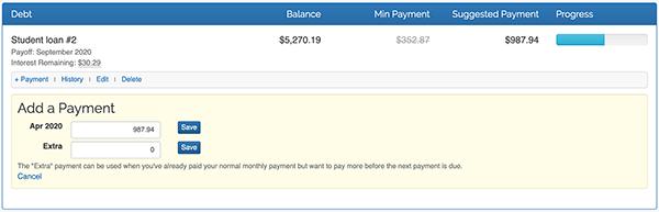 Debt Snowball - Make Payment form