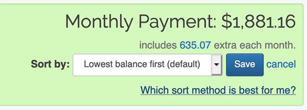 Debt Snowball - Sorting methods option