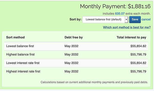 Debt Snowball - Sorting methods breakdown