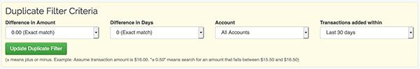 Duplicate Transaction Searching - Duplicate Filter Criteria