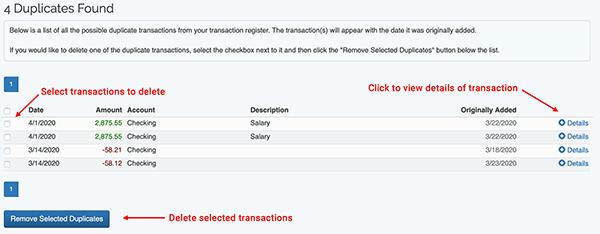 Duplicate Transaction Searching - Duplicate Results