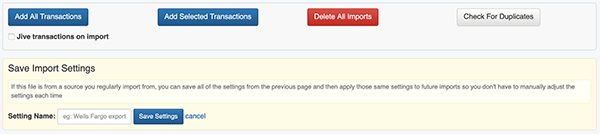 Import Transactions - Save Import Settings form