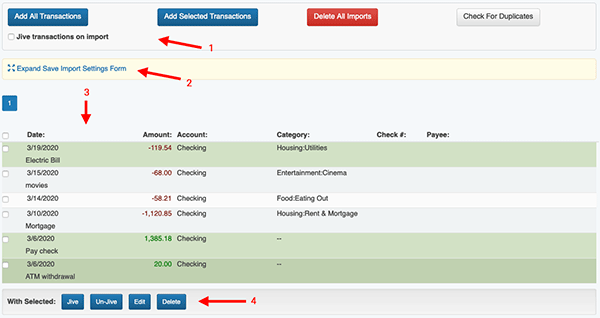Import Transactions -  Verify Imported Transactions page layout
