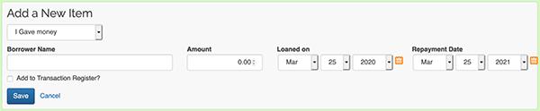 Money Lending Tracker - Add new item link
