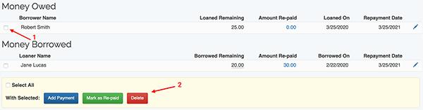 Money Lending Tracker - Delete Item information