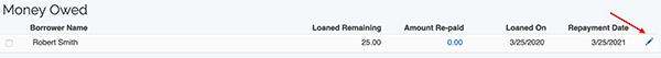 Money Lending Tracker - Edit Item link