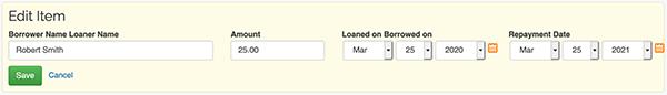 Money Lending Tracker - Edit Item form