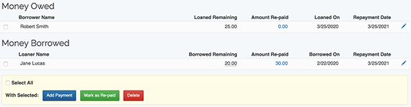Money Lending Tracker - Item list