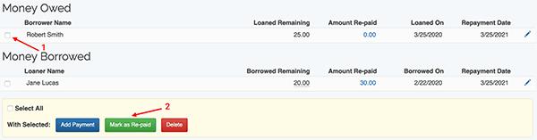 Money Lending Tracker - Mark as re-paid