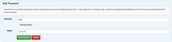 Money Lending Tracker - Add Payment form