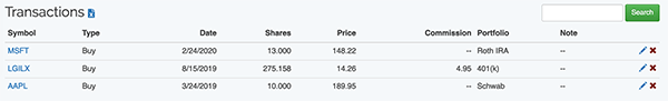 Investment Portfolio - Transactions List