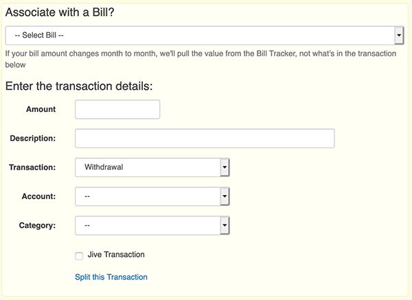 Reminders / Recurring Transactions - Add Transaction Form