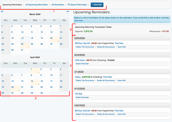 Reminders / Recurring Transactions - Page Layout