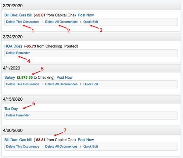 Reminders / Recurring Transactions - Reminder List
